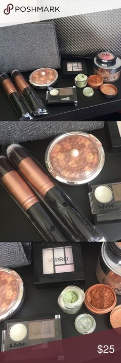 Large Makeup Lot with Brushes A lot of make up I don't use. Comes in a Lancôme makeup bag. Clinique crystal transparency face powder 1.2 oz container totally full. Two face brushes unused in wrappers - Bestope brand. Physician's Formula bronze pearl bronzer. NYX eyebrow cake powder ECP03 Taupe - great for light brown to medium brows. Victoria Secret Pro prismatic pearl eye quad. Two beautiful shades of eye shadow. No brand. One is a gold brown and the other is a pearlescent green. Mostly…