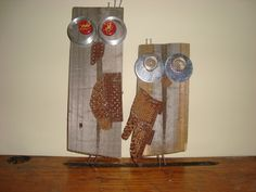 A pair of Owls from Fencing and scrap metal