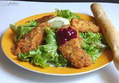 fischis cooking and more: gebackene hühnerstreifen auf blattsalat