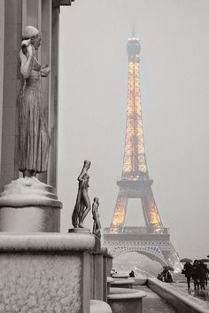 Eiffel Tower on a snowy day in Paris