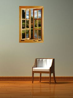 Peaceful Lake Window 1-Piece Peel & Stick Wall Mural - TheMuralStore.com