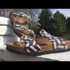 Birkenstock zebra beaded sandals. Authentic Birkenstock double strap sandals. From the Birki's line. Silver buckles. Really cool beaded and sequin look. Worn a few times, not enough to even wear the sole. Just on and off the boat. Great condition. Sparkle in the sunlight. Original cork footbed. Birkenstock Shoes Sandals