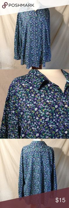 "Old Navy Light Weight Ladies Floral Button Down Bust 52"" Length 39 Arm Length from Pit 17"" This top is in excellent used condition. Great for layering . Material does not stretch. Minimal to no signs of wear. Old Navy Tops Button Down Shirts"