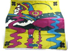 Rare Peter Max 60s Acetate Scarf Face Profile Heart