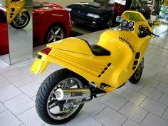 Lamborghini Motorcycle, vintage classic Motorbike at Autodrome Cannes, Importateur Pagani