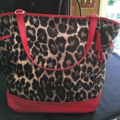 Tote bag Genuine coach tote bag. Red leather and black and gray leopard print. Like new. Only carried one time. Very nice bag! Just too big for me. Coach Bags Totes