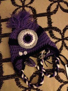Crochet Despicable Me Evil Purple Minion Earflap Beanie Hat - Etsy $17.00