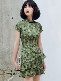 Green Floral Frill Hem Qipao / Cheongsam Dress - CozyLadyWear Day Dresses, Short Sleeve Dresses, Fashion Wear, Female Fashion, Cheongsam Dress, Evening Dresses For Weddings, Chinese Clothing, Best Wear, Traditional Outfits