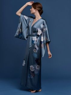 MENG Butterfly Lovers Printed silk jacquard fully lined kimono blue and grey, $1653, Front View