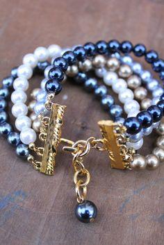 Vintage 80's 5 strand pearl bracelet by Joan Rivers by tiptoecurio, $26.00