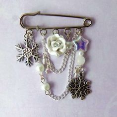White snowflake kilt pin brooch, winter jewelry, white charm brooch by FayeValentine for $22.50