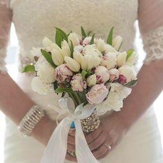 Amazing Bride Wedding bouquet peonies, tulips