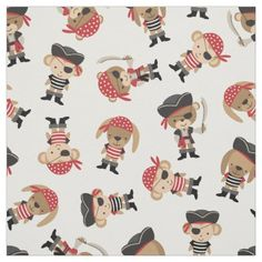 Cute Pirate Animal Fabric - animal gift ideas animals and pets diy customize