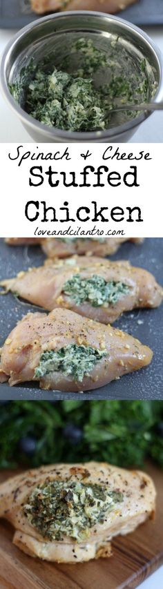 Juicy chicken breasts stuffed with parmesan, cream cheese, and spinach.