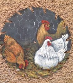 """Chickens painted on 9"""" saw blade"""
