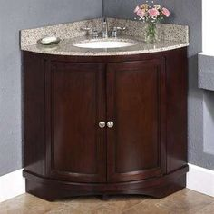 29 Beautiful Corner Bathroom Sink Cabinets For You ,Even in the event the sink isn't designed to be set up in a corner, there's always a means to fit it. A corner sink might not have become the very fir. Bathroom Corner Storage Cabinet, Corner Bathroom Vanity, Bathroom Sink Decor, Vanity Sink, Small Bathroom, Downstairs Bathroom, Bathroom Ideas, Garage Bathroom, Bathroom Cabinets