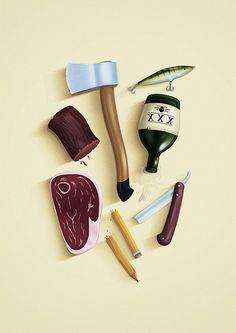 #illustration #axe #wobbler #meat #pencil #wood