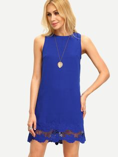 Buy it now. Royal Blue Sleeveless Crochet Dress. Blue Casual Polyester Round Neck Sleeveless Shift Short Cut Out Plain Fabric has no stretch Summer Tank Dresses. , vestidoinformal, casual, camiseta, playeros, informales, túnica, estilocamiseta, camisola, vestidodealgodón, vestidosdealgodón, verano, informal, playa, playero, capa, capas, vestidobabydoll, camisole, túnica, shift, pleat, pleated, drape, t-shape, daisy, foldedshoulder, summer, loosefit, tunictop, swing, day, offtheshoulder, s...