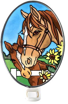 Great night light for the horse & art lover. Made by the leader in the stained glass world. Beautiful design of a dam nuzzling her foal. Horse lovers can share their love for horses with every purchase because Paws4Claws donates to animal rescues that save abandoned horses. Neigh!