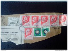 RARE JUGOSLAVIA 300/6*0.30/2*20 D PTT SKOPJE RECOMMENDET PACKAGE-LETTRE STAMP ON PAPER COVER USED SEAL - 1945-1992 Socialist Federal Republic Of Yugoslavia