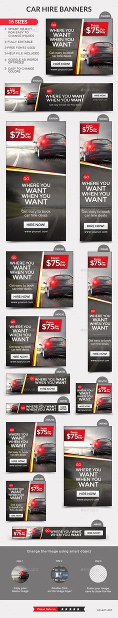Car Rental Web Banners Template #design #ads Download: http://graphicriver.net/item/car-rental-banners/12960820?ref=ksioks