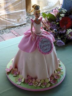 Barbie Cake. I have twin granddaughters, they each have their own cake for their birthday and one chose this cake.  So pretty!
