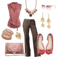 pink and brown--I like the gold/amber tones mixed in here.