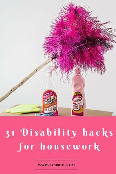 31 disability hacks for housework. Hints and tips that I've learnt over the years for making housework that little bit more manageable despite chronic illness. Blog post.