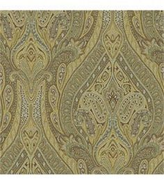 upholstery fabric dining room (Waverly Pathways Karaj Paisley Mineral - closeup)
