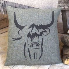highland cow tweed cushion by rustic country crafts | notonthehighstreet.com