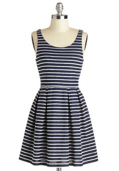 Sweetly Scalloped Dress in Navy - Blue, White, Stripes, Pleats, Scallops, Casual, A-line, Tank top (2 thick straps), Good, Scoop, Mid-length, Woven