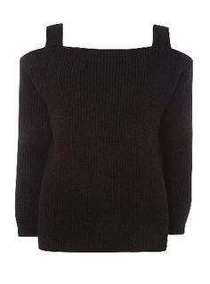 Dorothy Perkins Womens Black Cold Shoulder Jumper- Black Knitted cold shoulder strap jumper in black. Wearing length is approximately 53.5cm. 65% Acrylic, 35% Cotton. Machine washable. http://www.MightGet.com/april-2017-1/dorothy-perkins-womens-black-cold-shoulder-jumper-black.asp