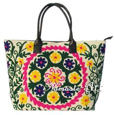 Indian Cotton Tote Shoulder Embroidery Suzani Handbag Woman Beach Boho Bag  jk27 #Namasteart #TotesShoppers