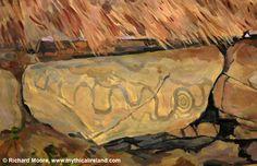 Knowth kerbstone British Isles, Ireland, Europe, Sunset, History, Artist, Painting, Historia, Artists
