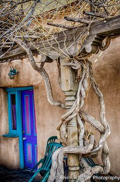 Santa Fe, NM Kevin Schaffer - love the colors Stairs And Doors, Santa Fe Nm, Santa Fe Style, When One Door Closes, New Mexican, Desert Homes, Land Of Enchantment, Southwest Style, Painted Doors