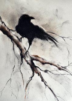 Original Charcoal Raven Drawing Crow Halloween by AbstractArtM Crow Art, Raven Art, Bird Art, Crows Drawing, Painting & Drawing, Watercolor Paintings, Gothic Drawings, Art Drawings, Samhain