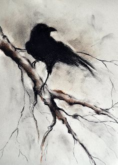 Original Charcoal Raven Drawing Crow Halloween Gothic Wall Art Minimalist Drawing 12x9""