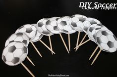 DIY Soccer Cupcake Toppers via thebittersideofsweet Soccer Cupcakes, Soccer Ball Cake, Soccer Baby, Party Cupcakes, Soccer Birthday Parties, Football Birthday, Boy Birthday, Cupcake Toppers, Cupcake Cakes