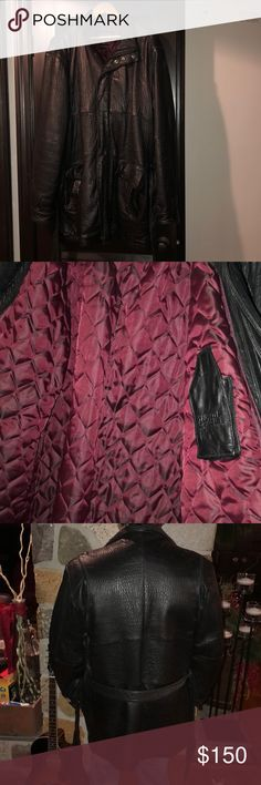 Italian Style Genuine Leather Jacket Italian style 100% Genuine Leather Jacket. Brand is Wilson's Leather. color is black and interior is Red. Optional front tie belt. Great condition aside from minor pokes (3) on upper right shoulder. (As shown in pics) Wilsons Leather Jackets & Coats