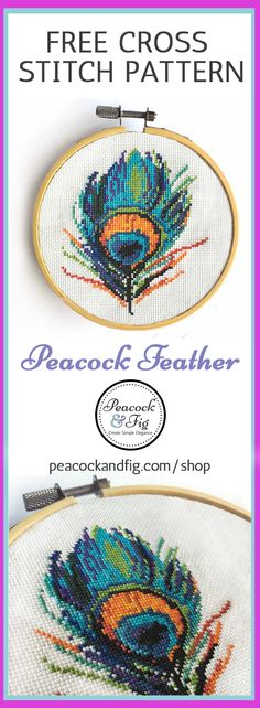 This modern cross stitch pattern of a peacock feather is one of many free cross stitch patterns available in the Peacock & Fig shop! Check out the cross stitch freebies section of the shop for this freebie pattern and more! https://peacockandfig.com/shop