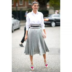 A metallic midi skirt is the perfect way to be festive and classy this holiday season.