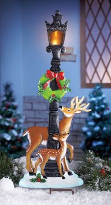 Lighted Holiday Deer Lamp Post Stake