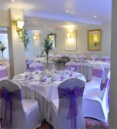 Decorated with cadbury purple organza sashes