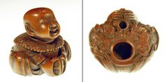 Katabori netsuke front and rear view with two holes for cord.  By No machine-readable author or source or type provided. Cshapiro -own work assumed (based on copyright claims).  CC BY-SA 3.0. See en.wikipedia.org/wiki/Netsuke for explanation of FORMS of netsuke.