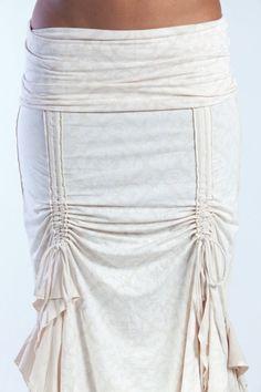Cream Flamenco skirt steampunk, victorian, rayon/lycra by Phoenix Rising Designs at IAMA