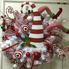 Red and White Christmas wreath elf crash by Twentycoats Wreath Creations (2015)