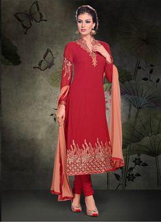 Baronial Embroidered Work Red Churidar Salwar Kameez