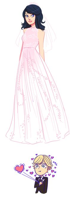 Jajaja <3 Marinette Adrien, Adrian And Marinette, Marionette, Lady Bug, Miraculous Ladybug, 3 Kids, Gorgeous Dress, Beautiful, Marinette Dupain Cheng