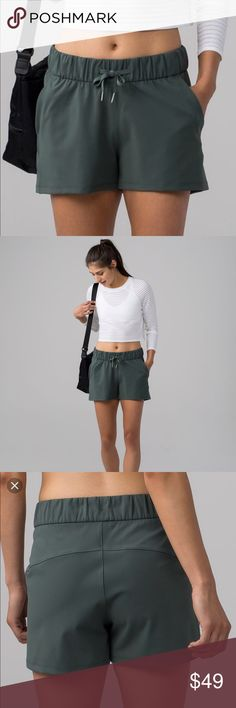 Lululemon On The Fly short dark forest Size 4, brand new, no tags BNWOT. worn once around the house and are FLAWLESS! Sold out online! lululemon athletica Shorts