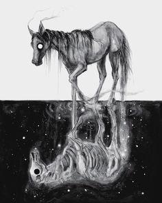 'Black Omen' / watercolor on board, ✖️ limited giclèe prints restocked in my shop , original sold! Horse Art, Scary Art, Animal Art, Illustration, Creature Art, Art, Dark Art, Dark Art Drawings, Dark Fantasy Art